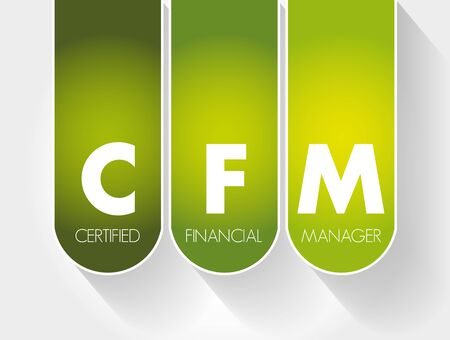 CFM - Certified Financial Manager acronym, business concept background Vectores