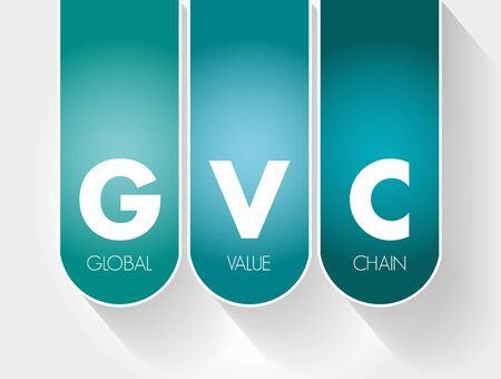 GVC - Global Value Chain acronym, business concept background 向量圖像