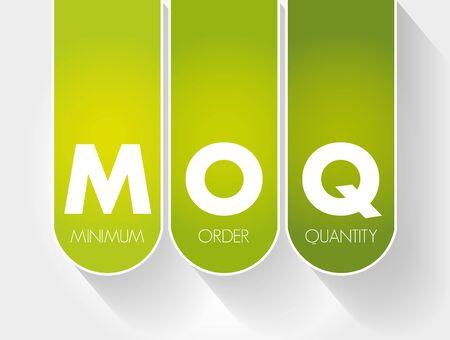 MOQ - Minimum Order Quantity acronym, business concept background Иллюстрация
