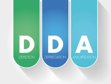 DDA - Depletion Depreciation Amortization acronym, business concept background
