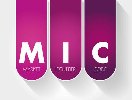 MIC - Market Identifier Code acronym, business concept background
