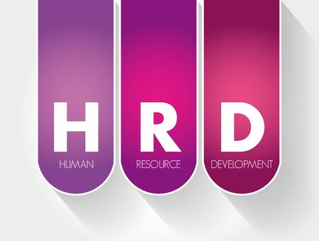 HRD - Human Resource Development acronym, business concept background