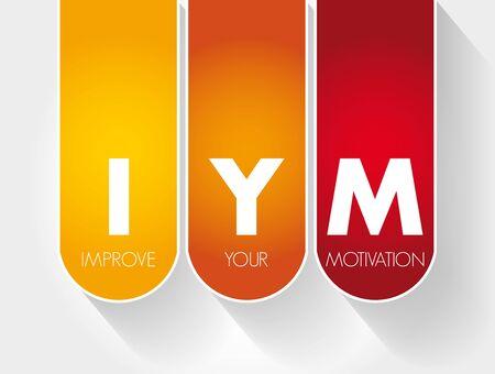 IYM - Improve Your Motivation acronym, concept background 版權商用圖片 - 132972370