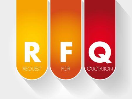 RFQ - Request For Quotation acronym, business concept background Ilustração