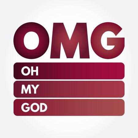 OMG - Oh My God acronym, concept background