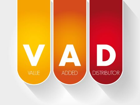 VAD - Value Added Distributor acronym, business concept background Vectores