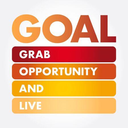 OBJECTIF - Opportunité de saisie et acronyme en direct, arrière-plan du concept d'entreprise