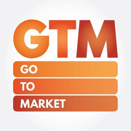 GTM - Go To Market acronym, business concept Иллюстрация