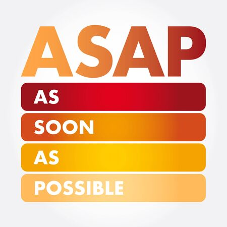 ASAP - As Soon As Possible acronym, business concept background  イラスト・ベクター素材