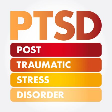 PTSD - Posttraumatic Stress Disorder acronym, medical concept background
