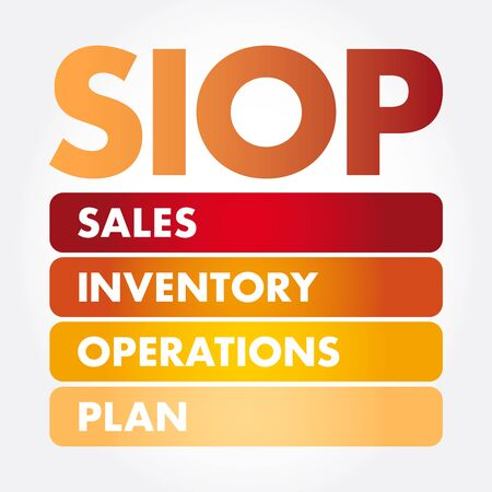 SIOP - Sales Inventory Operations Plan acronym, business concept background Ilustração