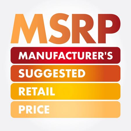 MSRP - Manufacturer's Suggested Retail Price acronym, business concept background Standard-Bild - 133039436