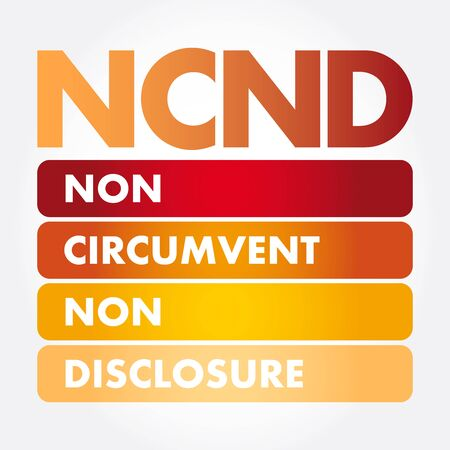 NCND - Non-Circumvent and Non-Disclosure acronym, business concept background Illustration