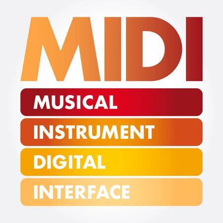 MIDI - Musical Instrument Digital Interface acronym, concept background Ilustração