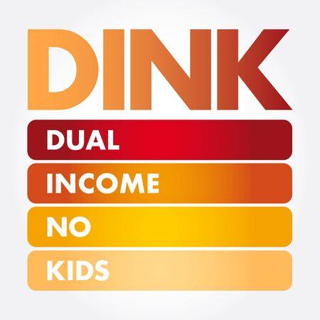 DINK - Dual Income No Kids acronym, concept background Çizim