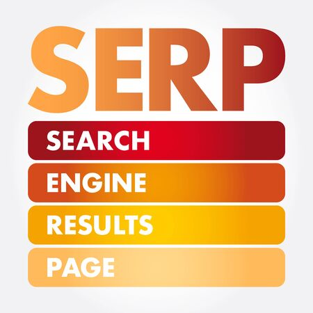 SERP - Search Engine Results Page acronym, business concept background Çizim