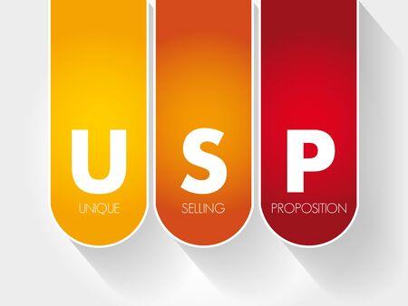 USP - Unique Selling Proposition acronym, business concept background