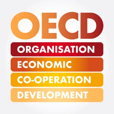 OECD - Organisation for Economic Co-operation and Development acronym, business concept background 向量圖像