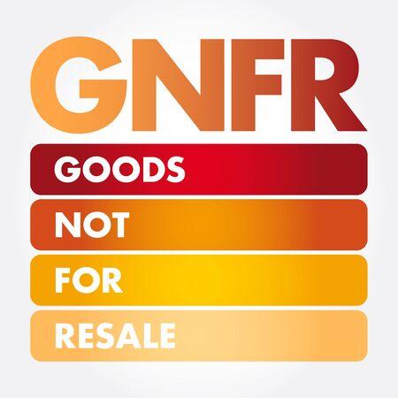 GNFR - Goods Not For Resale acronym, business concept background Standard-Bild - 133040194