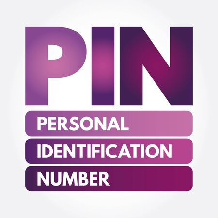 PIN - Personal Identification Number acronym, technology concept background