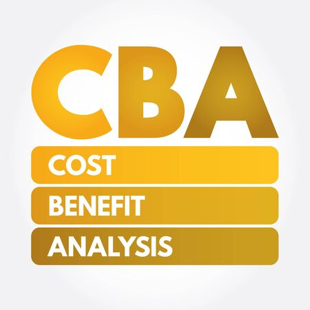 CBA - Cost-benefit Analysis acronym, business concept background