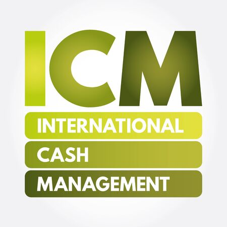 ICM - International Cash Management acronym, business concept background Ilustração