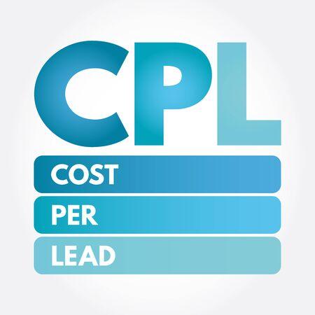 CPL - Cost Per Lead acronym, business concept
