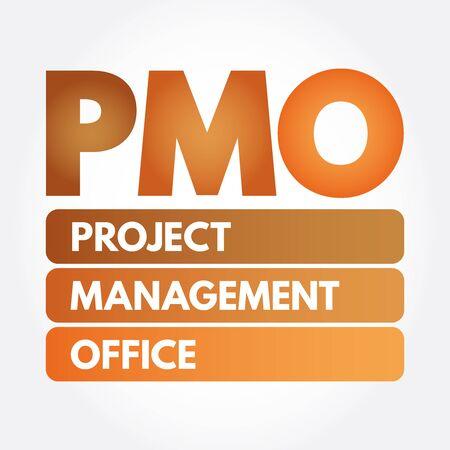 PMO - Project Management Office acronym, business concept background Ilustração