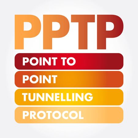 PPTP - Point to Point Tunnelling Protocol acronym, technology concept background