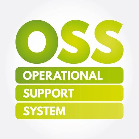 OSS - Operational support system acronym, technology concept background Иллюстрация