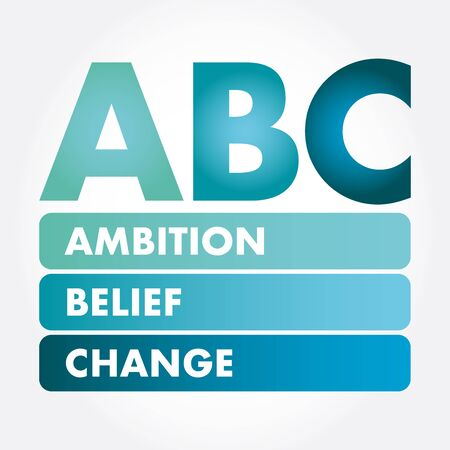 ABC - Ambition Belief Change acronym, business concept background