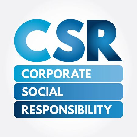 CSR - Corporate Social Responsibility acronym, business concept background Illustration