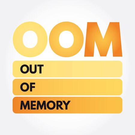 OOM - Out of Memory acronym, technology concept Ilustração