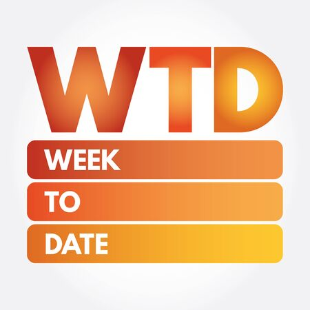 WTD - Week To Date acronym, business concept background Ilustrace