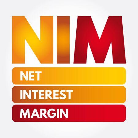 NIM - Net Interest Margin acronym, business concept background