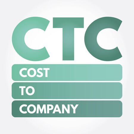 CTC - Cost To Company acronym, business concept background