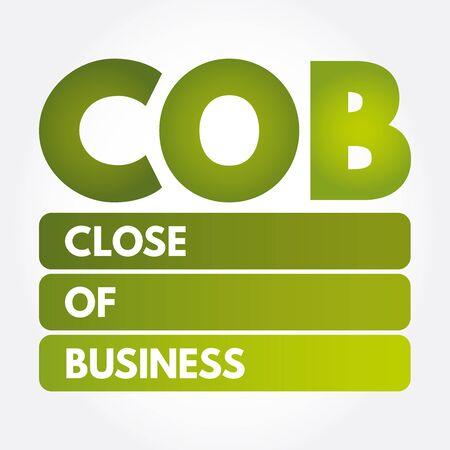 COB - Close of Business acronyme, concept background