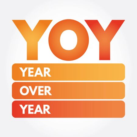 YOY - Year Over Year acronym, business concept background Иллюстрация
