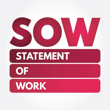 SOW - acronyme de déclaration de travail, fond de concept d'entreprise Vecteurs