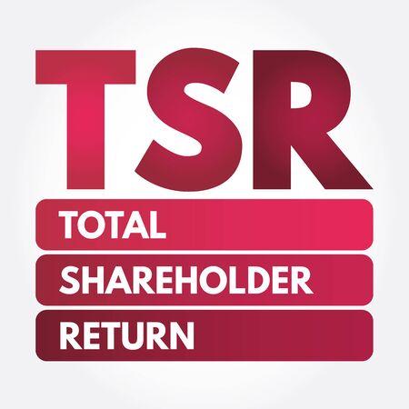 TSR - Total Shareholder Return acronym, business concept background Ilustrace