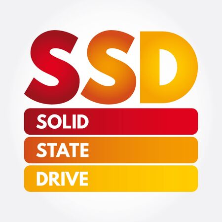 SSD - Solid State Drive acronym, technology concept background Illustration