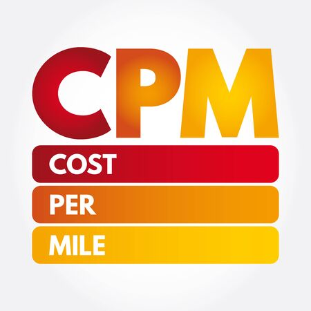 CPM - Cost Per Mile acronym, concept background