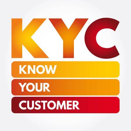 KYC - Connaissez votre acronyme de client, arrière-plan du concept d'entreprise Vecteurs