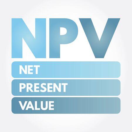 NPV - Net Present Value acronym, business concept background 일러스트