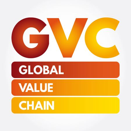GVC - Global Value Chain acronym, business concept background Illustration