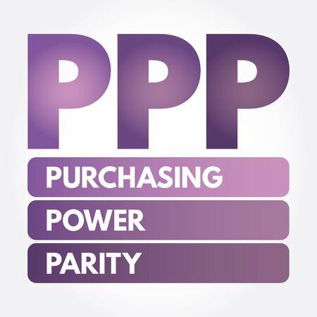 PPP - Purchasing Power Parity acronym, business concept background Çizim