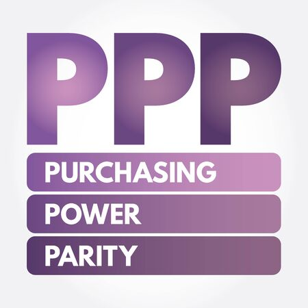 PPP - Purchasing Power Parity acronym, business concept background Illustration
