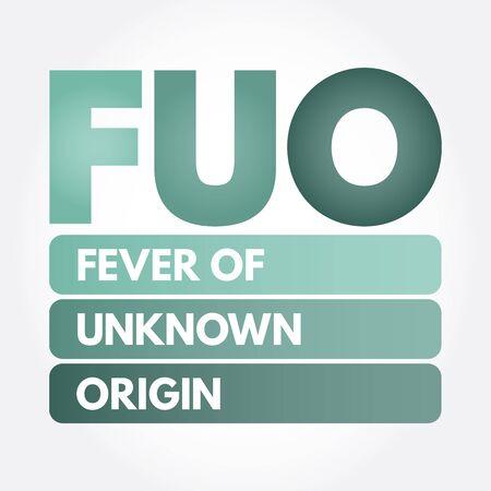 FUO - Fever of Unknown Origin acronym, concept background Stock Illustratie