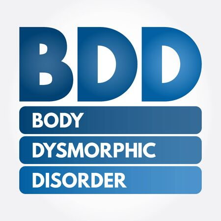 BDD - Body Dysmorphic Disorder acronym, medical concept background Illustration