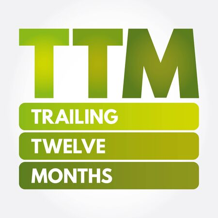 TTM - Trailing Twelve Months acronym, business concept background Vektoros illusztráció